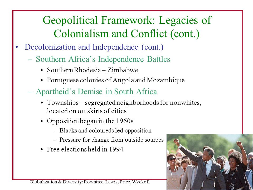 Geopolitical Framework: Legacies of Colonialism and Conflict (cont.)