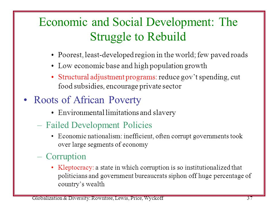 Economic and Social Development: The Struggle to Rebuild