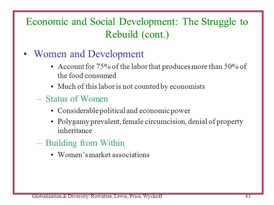 Economic and Social Development: The Struggle to Rebuild (cont.)