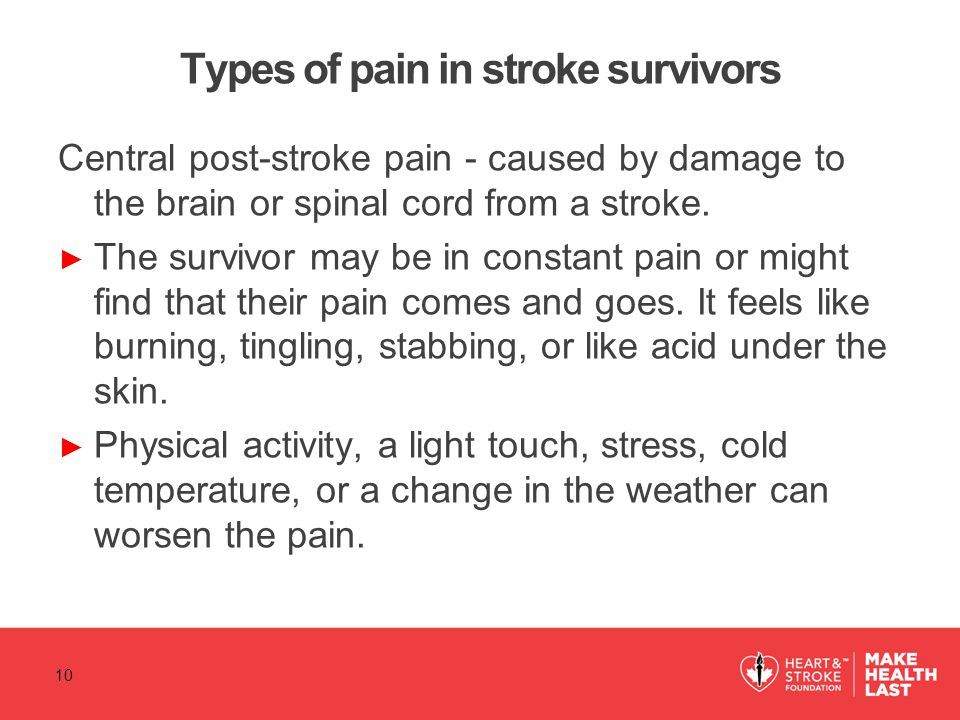 Types of pain in stroke survivors