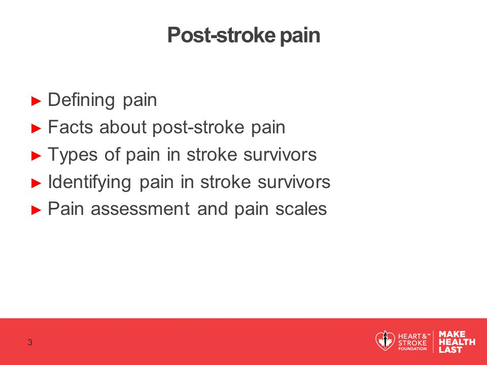 Post-stroke pain Defining pain Facts about post-stroke pain