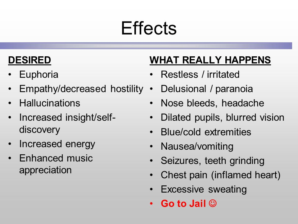 Effects DESIRED Euphoria Empathy/decreased hostility Hallucinations