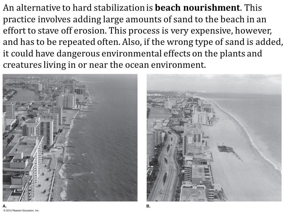 An alternative to hard stabilization is beach nourishment