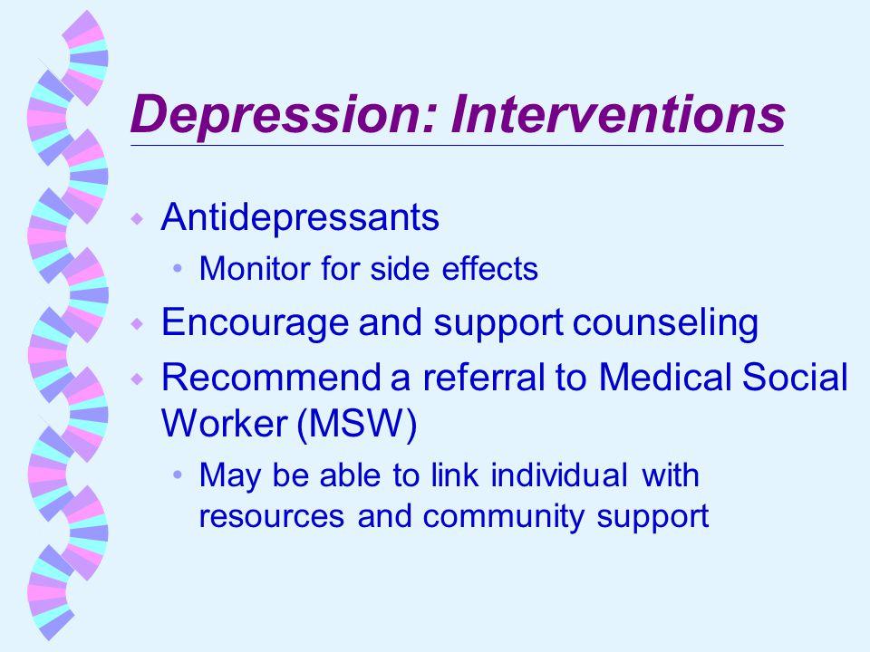 Depression: Interventions