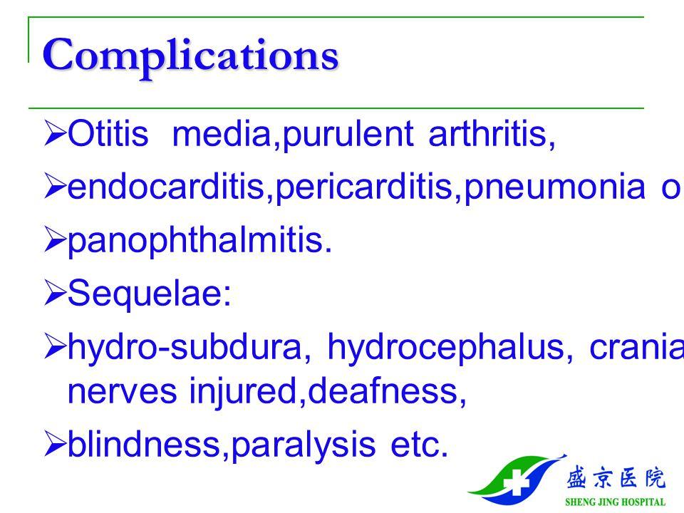 Complications Otitis media,purulent arthritis,