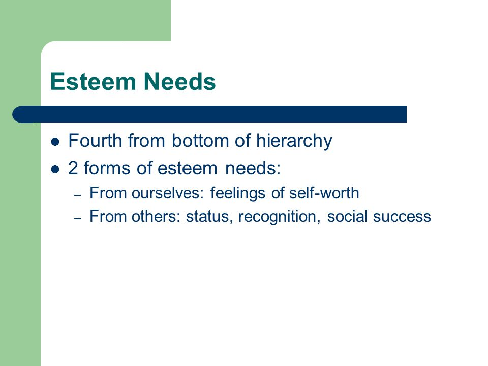 Esteem Needs Fourth from bottom of hierarchy 2 forms of esteem needs: