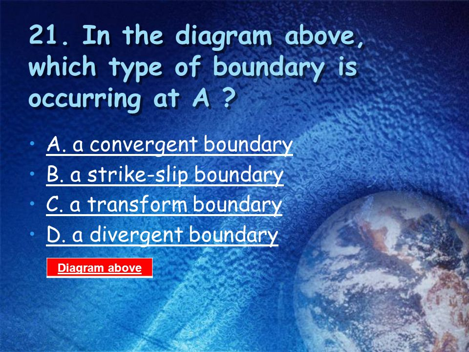 21. In the diagram above, which type of boundary is occurring at A