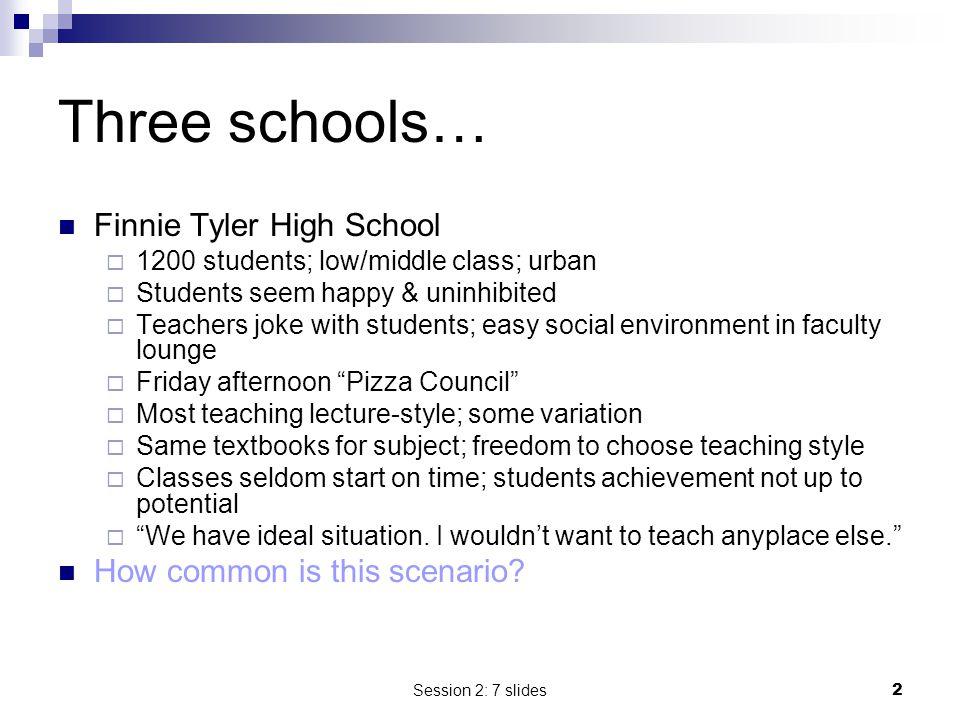 Three schools… Finnie Tyler High School How common is this scenario