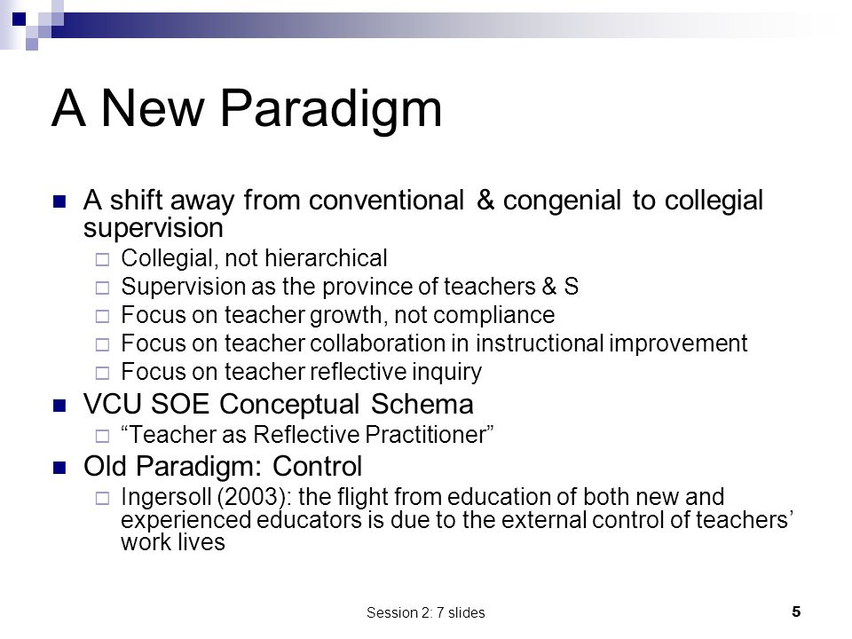 A New Paradigm A shift away from conventional & congenial to collegial supervision. Collegial, not hierarchical.