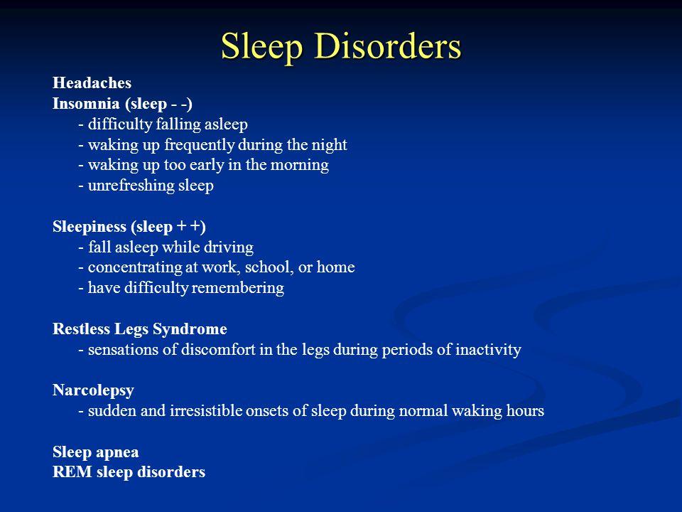 Sleep Disorders Headaches Insomnia (sleep - -)