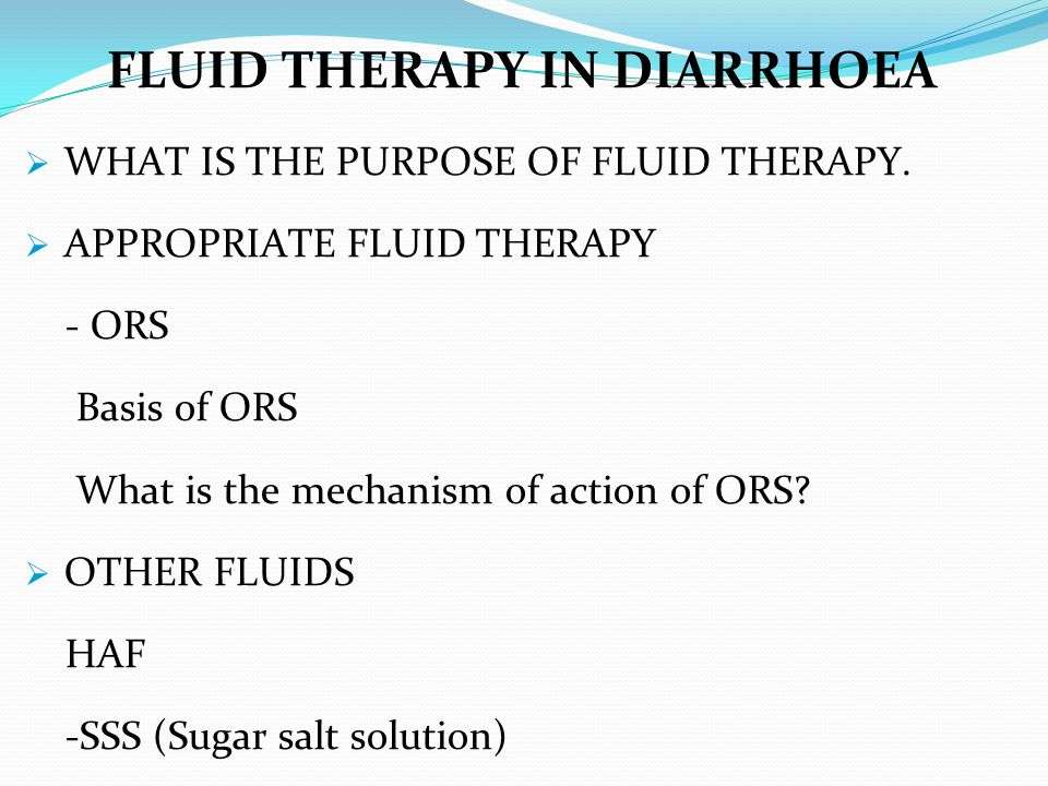 FLUID THERAPY IN DIARRHOEA