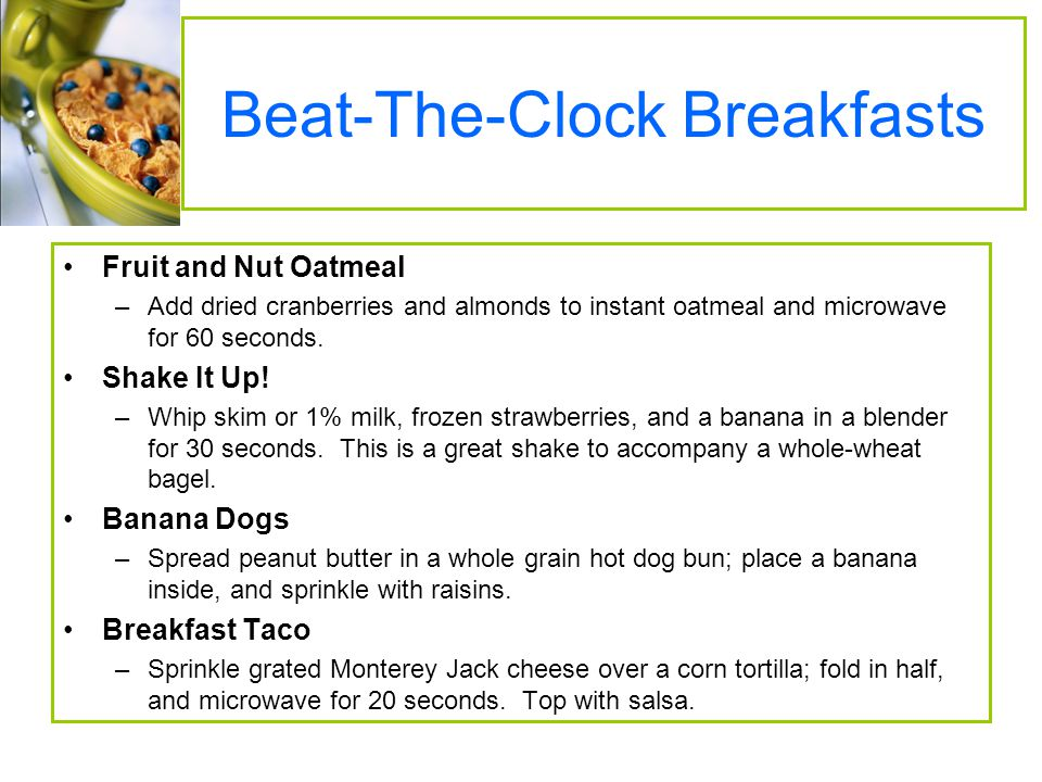 Beat-The-Clock Breakfasts