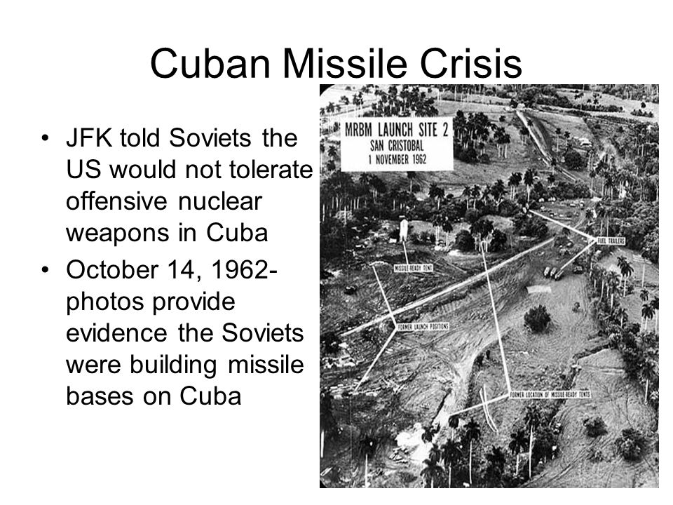 Cuban Missile Crisis JFK told Soviets the US would not tolerate offensive nuclear weapons in Cuba.