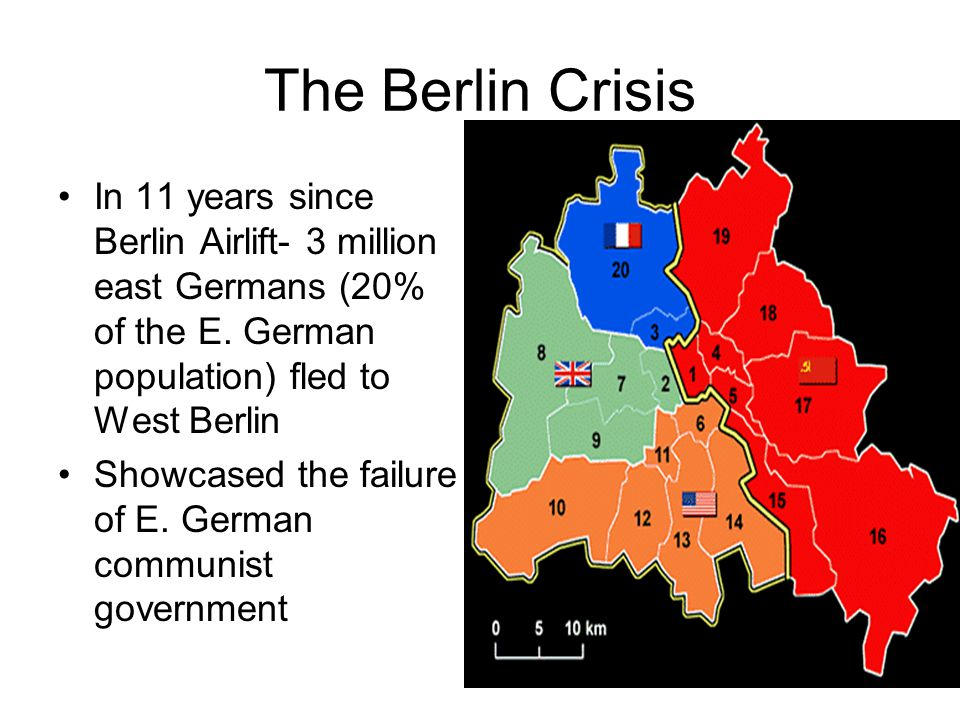 The Berlin Crisis In 11 years since Berlin Airlift- 3 million east Germans (20% of the E. German population) fled to West Berlin.