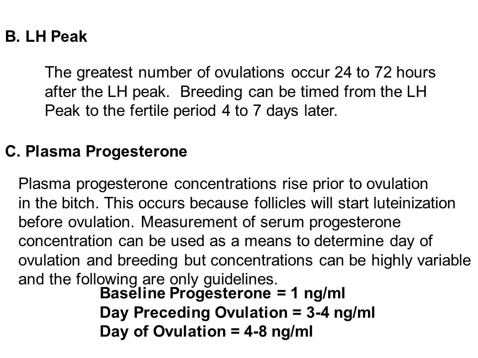 B. LH Peak C. Plasma Progesterone. The greatest number of ovulations occur 24 to 72 hours. after the LH peak. Breeding can be timed from the LH.