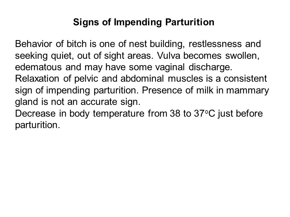 Signs of Impending Parturition
