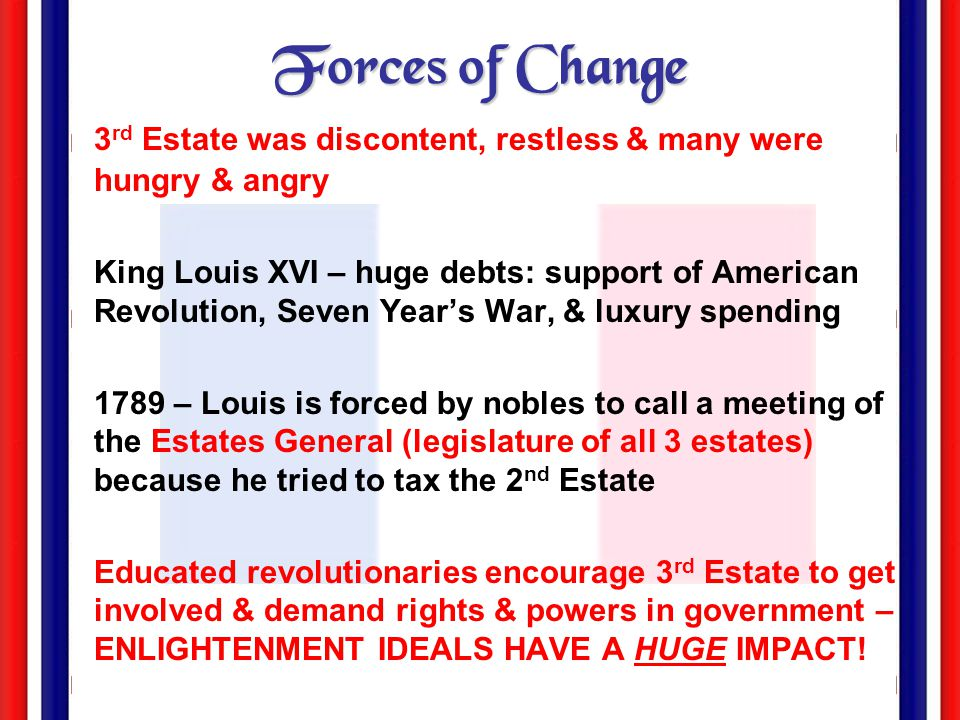 Forces of Change 3rd Estate was discontent, restless & many were hungry & angry.