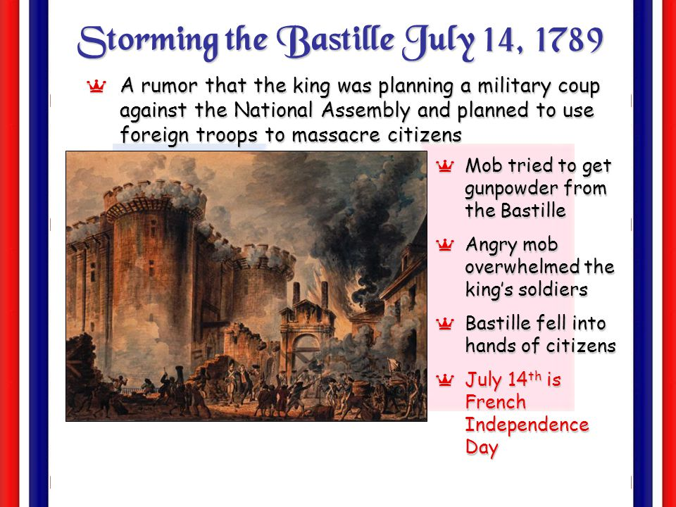 Storming the Bastille July 14, 1789