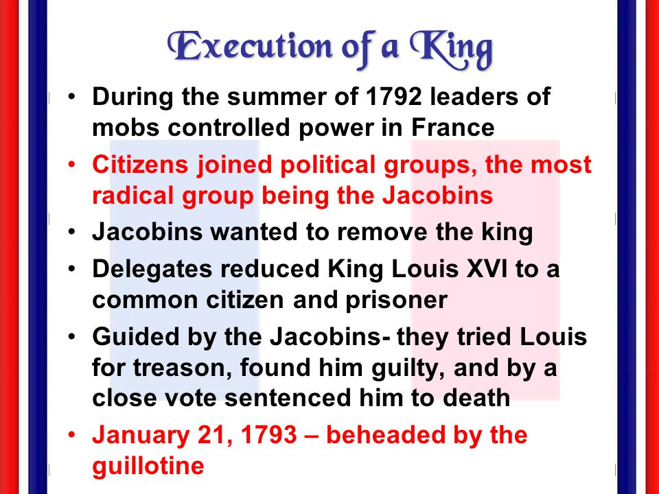 Execution of a King During the summer of 1792 leaders of mobs controlled power in France.