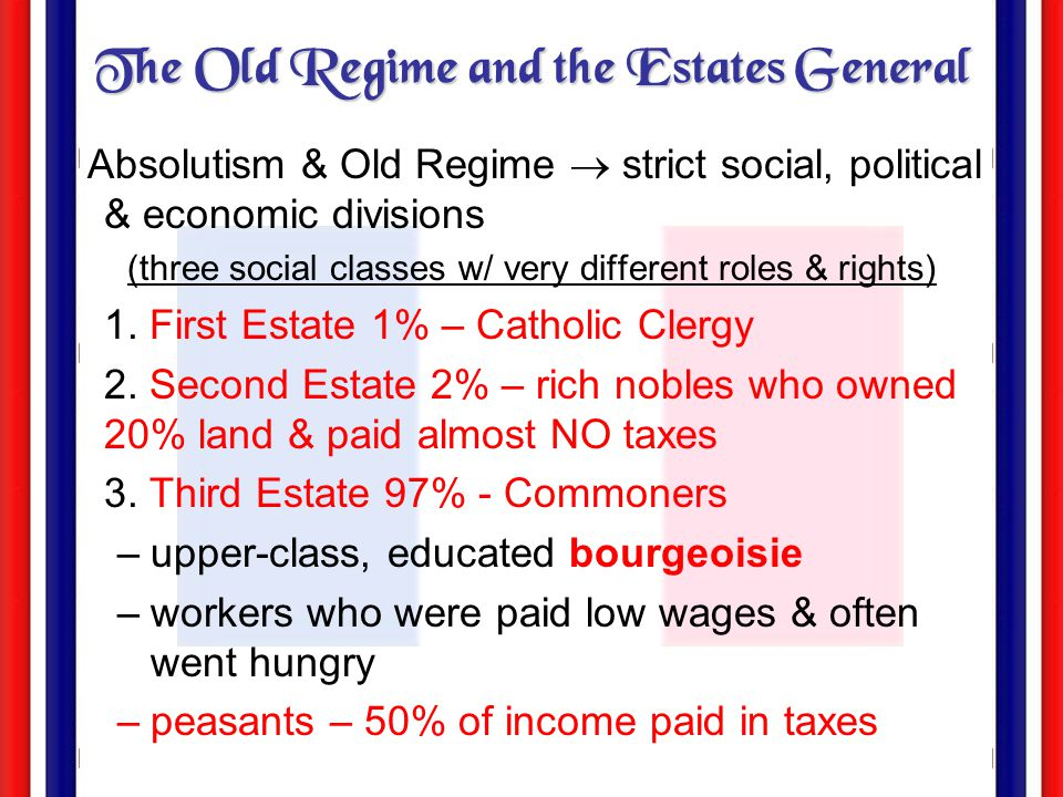 The Old Regime and the Estates General