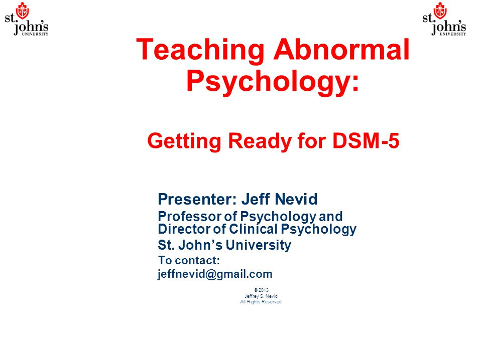 Teaching Abnormal Psychology: Getting Ready for DSM-5