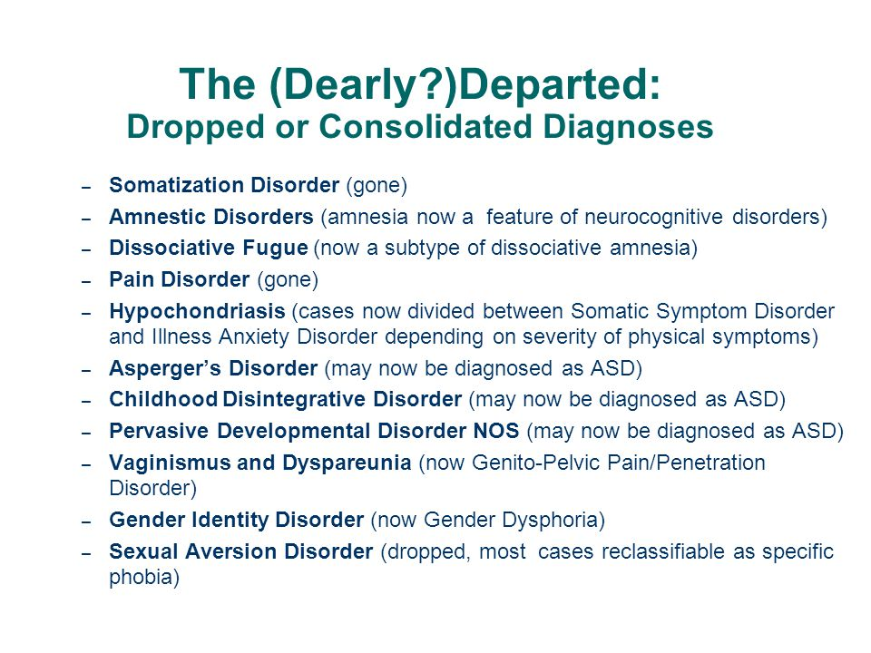 The (Dearly )Departed: Dropped or Consolidated Diagnoses