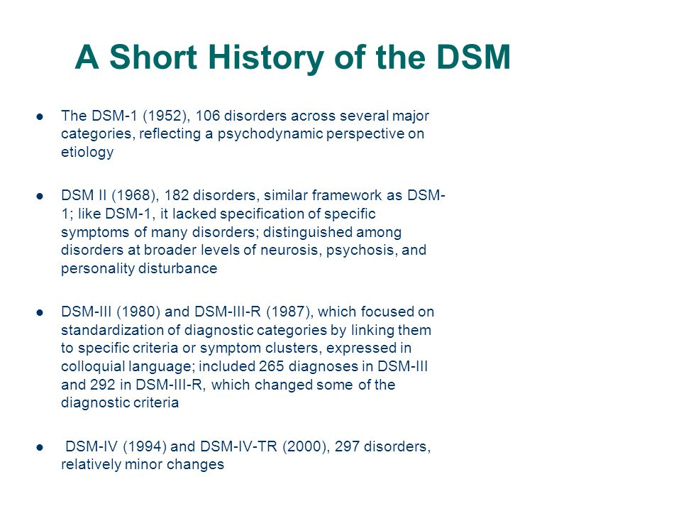 A Short History of the DSM