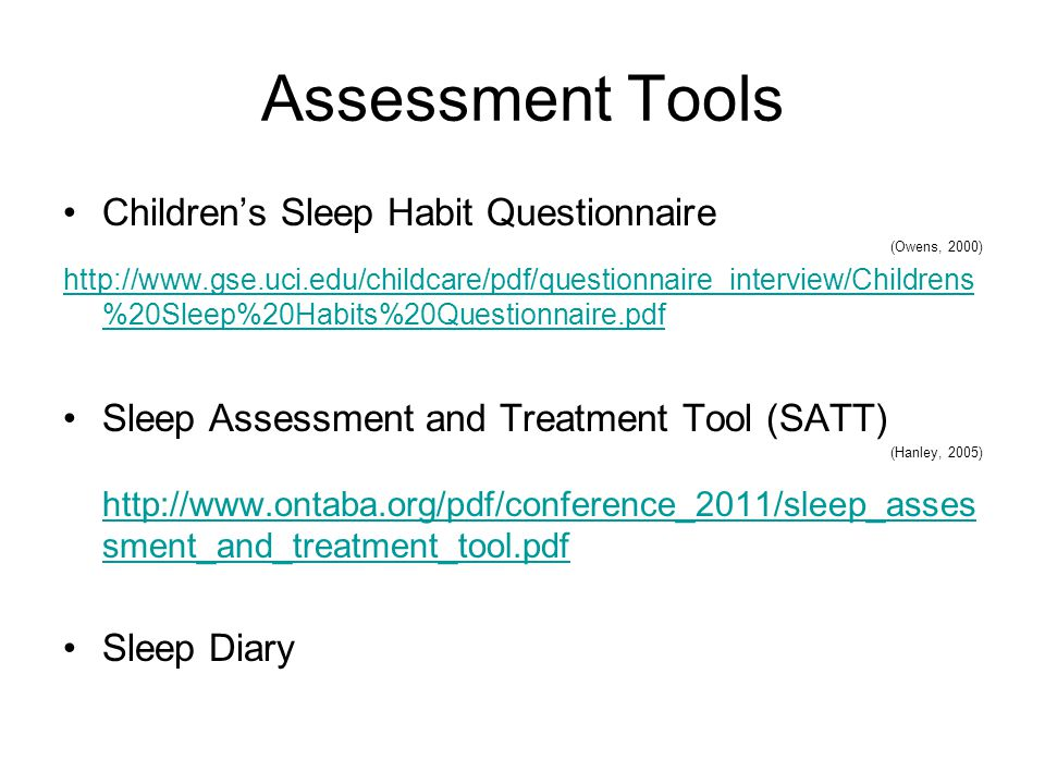 Assessment Tools Children's Sleep Habit Questionnaire