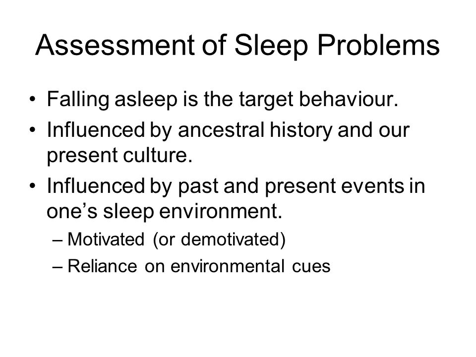 Assessment of Sleep Problems