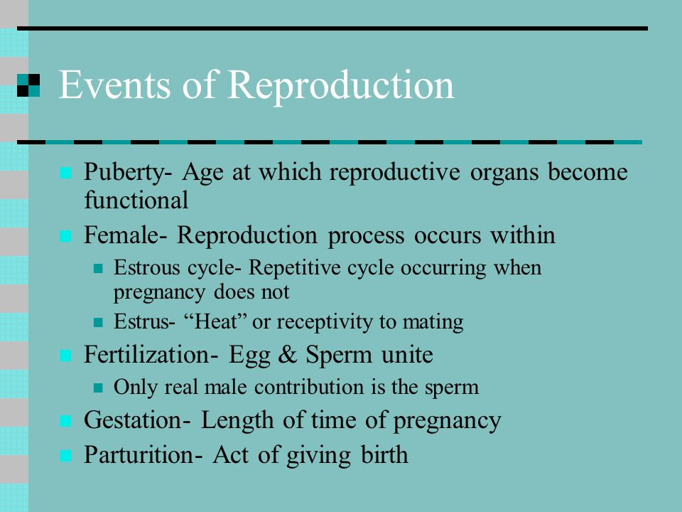 Events of Reproduction
