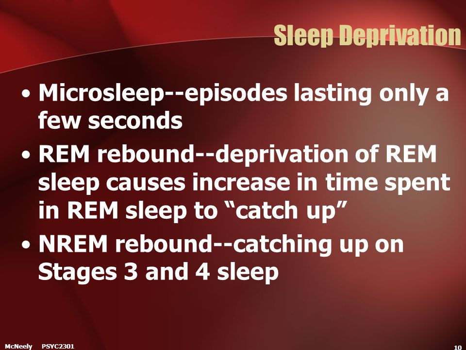 Sleep Deprivation Microsleep--episodes lasting only a few seconds