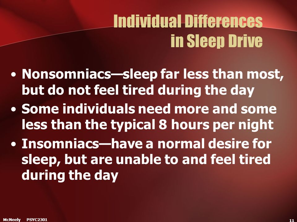 Individual Differences in Sleep Drive