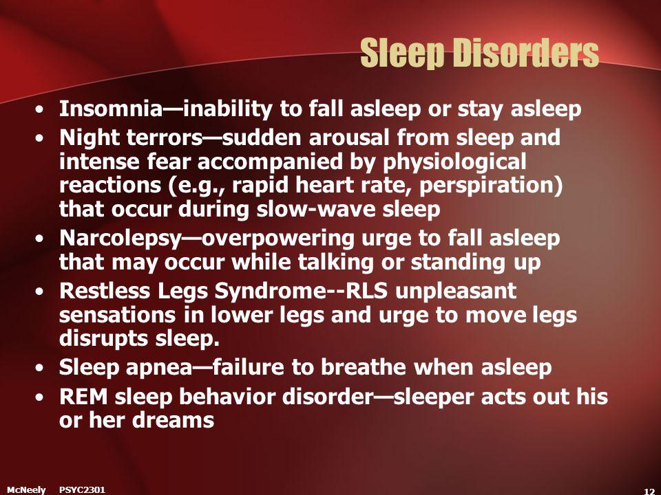 Sleep Disorders Insomnia—inability to fall asleep or stay asleep