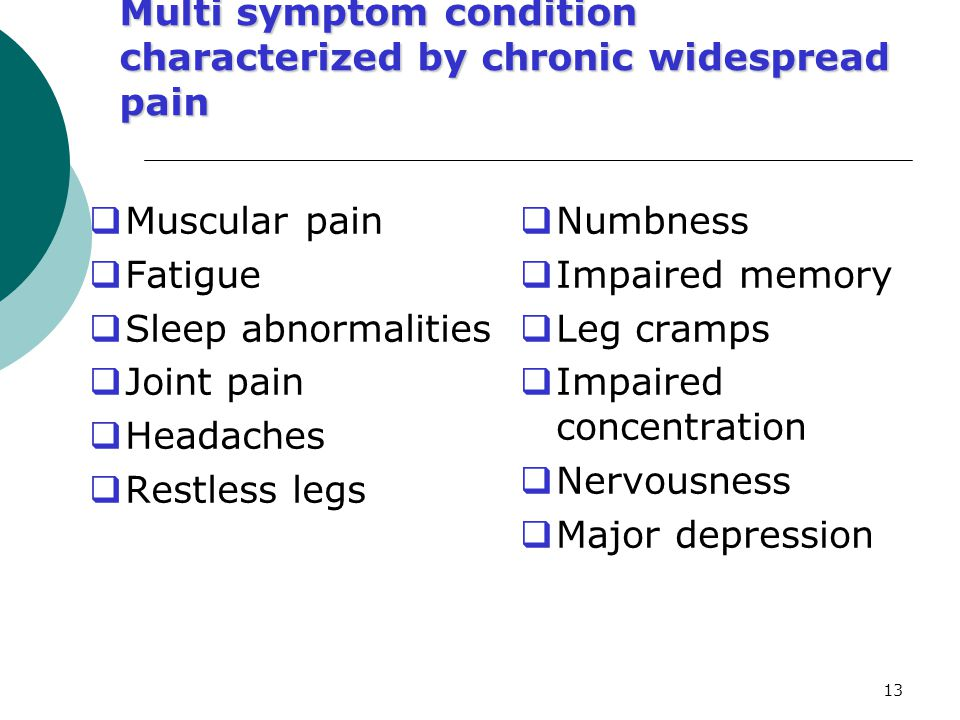 Multi symptom condition characterized by chronic widespread pain
