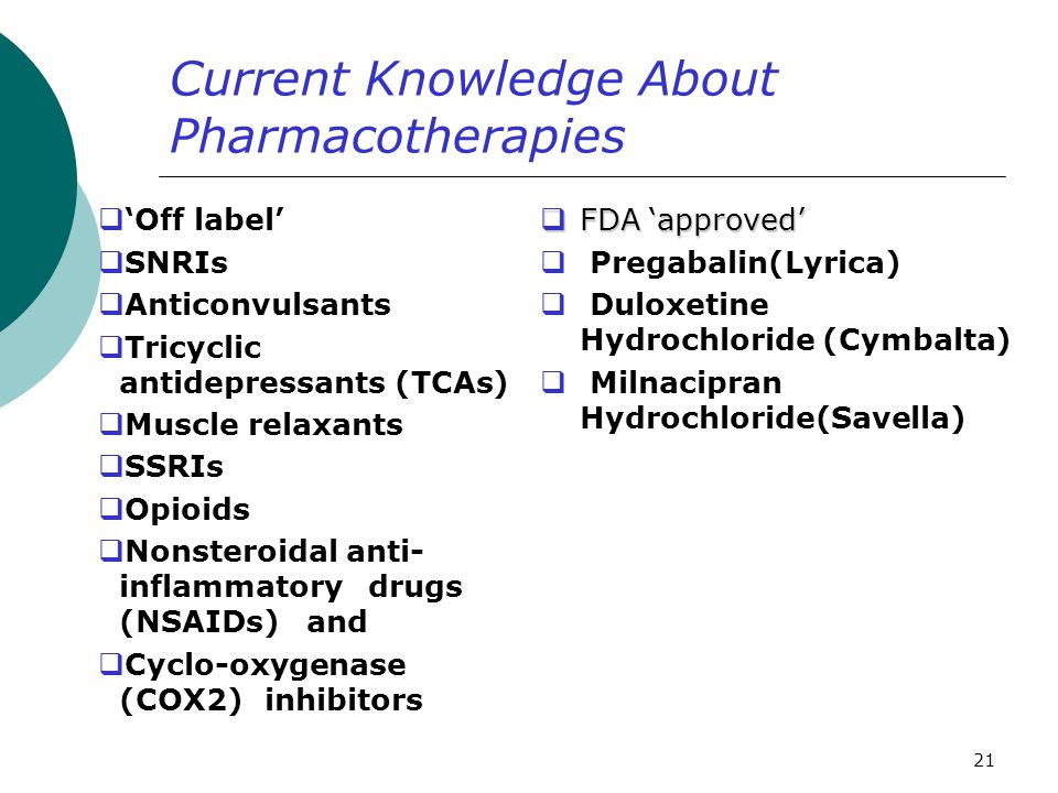 Current Knowledge About Pharmacotherapies
