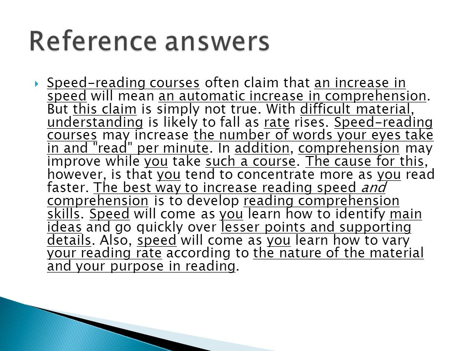 Reference answers