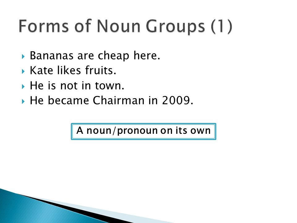 A noun/pronoun on its own