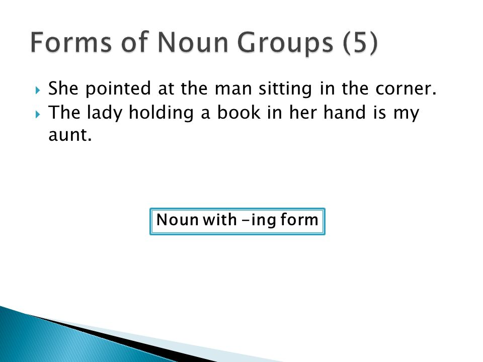 Forms of Noun Groups (5) She pointed at the man sitting in the corner.
