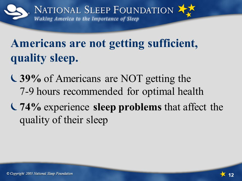 Americans are not getting sufficient, quality sleep.
