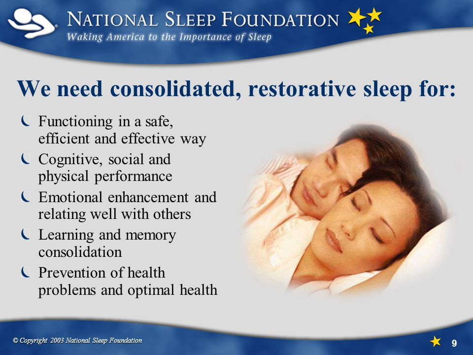 We need consolidated, restorative sleep for:
