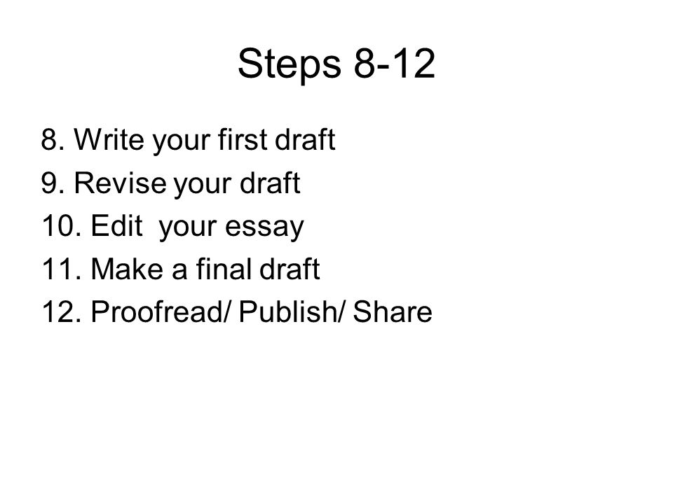 Steps 8-12 8. Write your first draft 9. Revise your draft