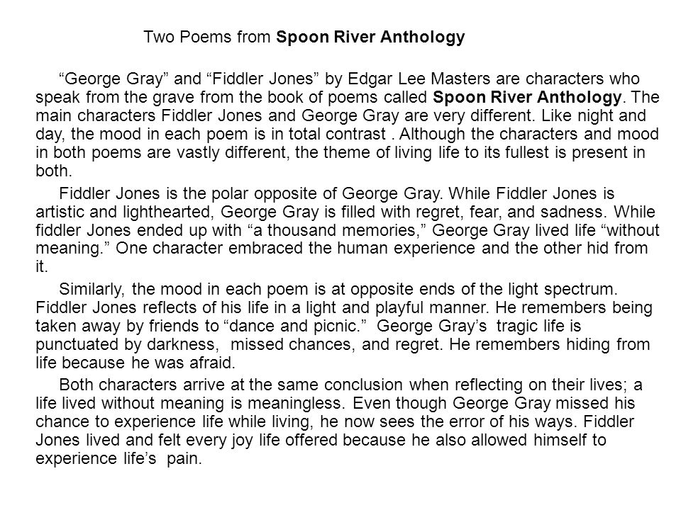 poetry analysis of george gray Thomas gray (b 1716–d 1771 useful for particular passages of sustained analysis spacks, patricia m the poetry of vision: gascoigne, george gay.