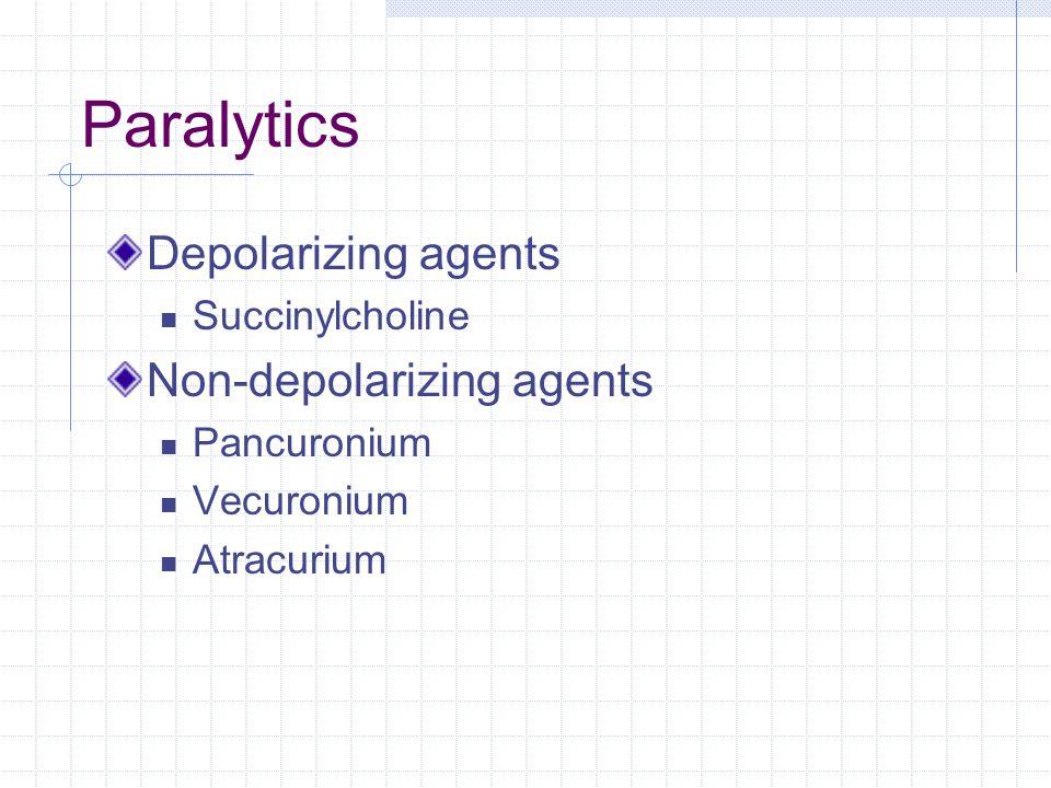 Paralytics Depolarizing agents Non-depolarizing agents Succinylcholine