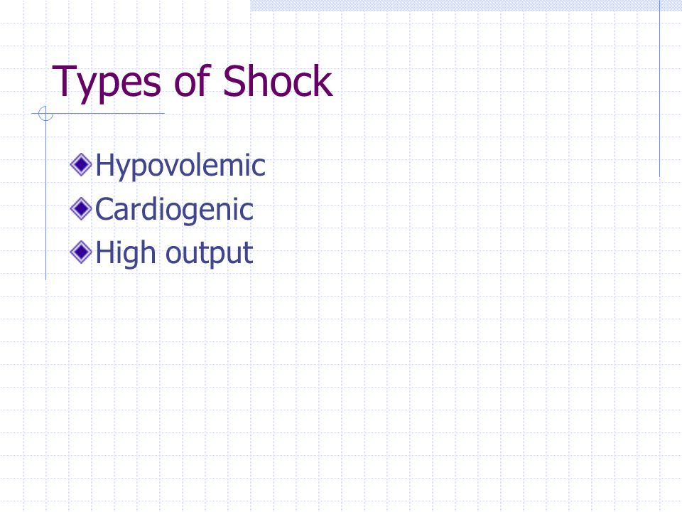 Types of Shock Hypovolemic Cardiogenic High output
