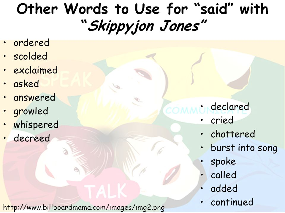 Other Words to Use for said with Skippyjon Jones
