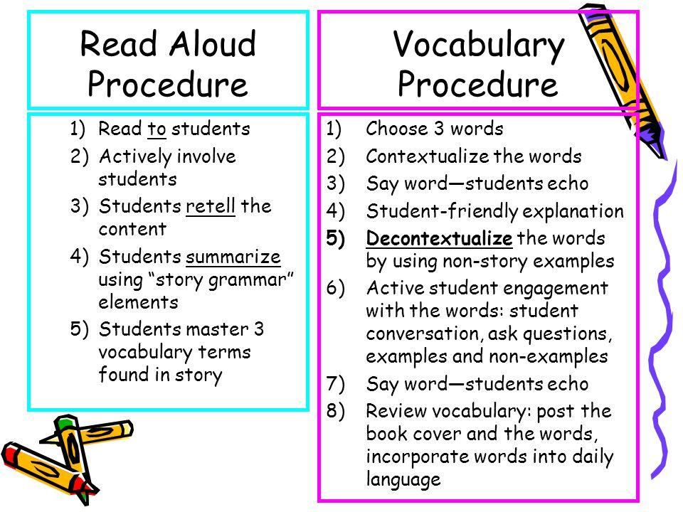 Read Aloud Procedure Vocabulary Procedure Read to students