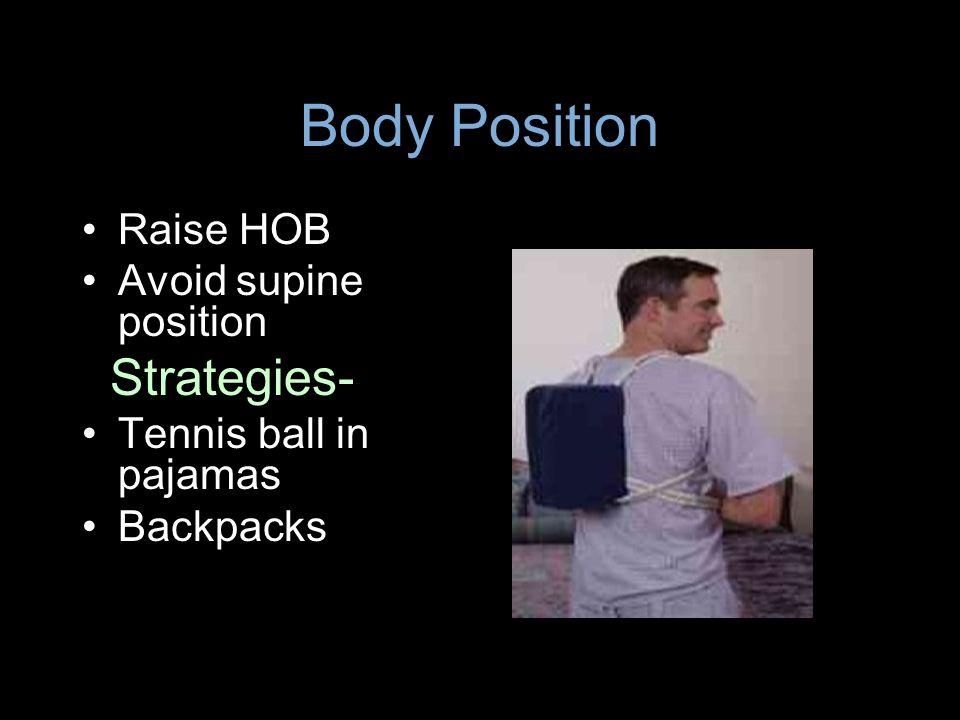 Body Position Strategies- Raise HOB Avoid supine position