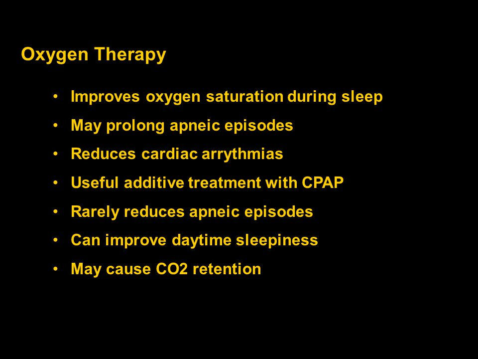 Oxygen Therapy Improves oxygen saturation during sleep