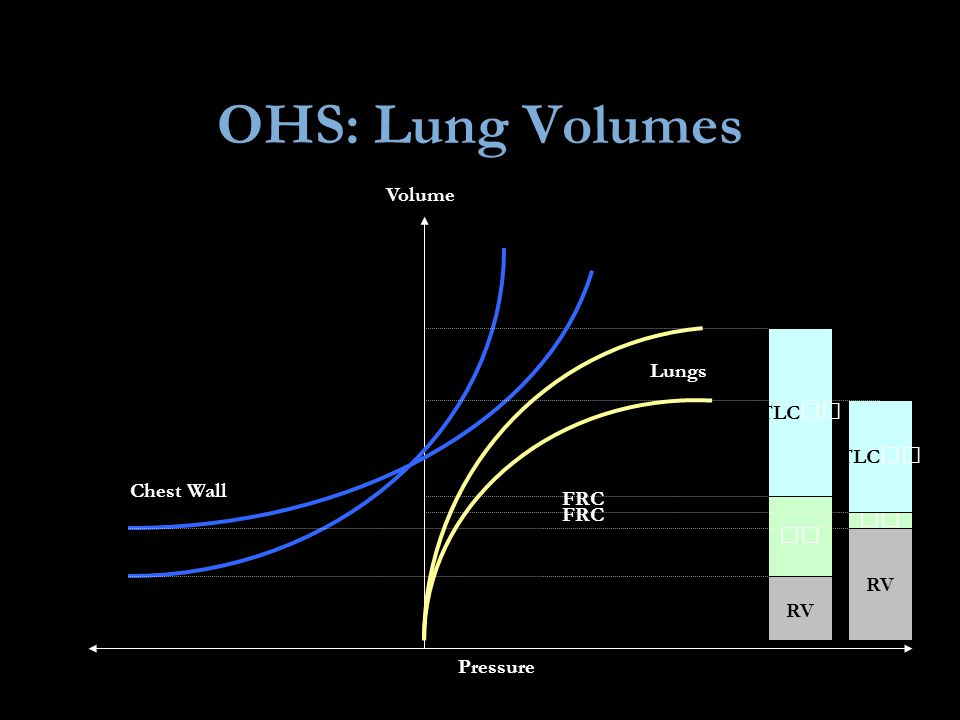 OHS: Lung Volumes Volume TLC Lungs TLC Chest Wall FRC FRC   RV