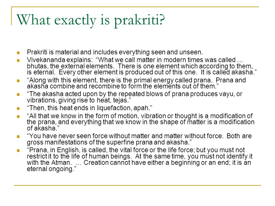 What exactly is prakriti